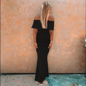 Long black strapless dress